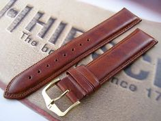 HIRSCH Ascot L, English Leather Watch Strap in Gold Brown, 20 mm, Gold Buckle: Amazon.co.uk: Watches