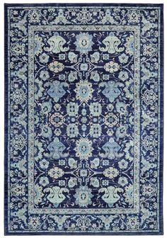 Love blue and white? Karastan's Pacifica Voltaire in Indigo adds a bold blue and white backdrop to any room.