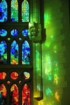 Forest lights - Windows at Sagrada Familia (Gaudi), Barcelona, Catalonia