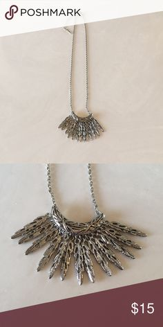 "Lia Sophia ""Featherstone"" Necklace - NEW The ""Featherstone"" is an antique silver bib necklace. 16""-20"". NEW Lia Sophia Jewelry Necklaces"
