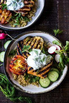 Grilled Salmon Tzatziki Bowls from feastingathome.com on foodiecrush.com