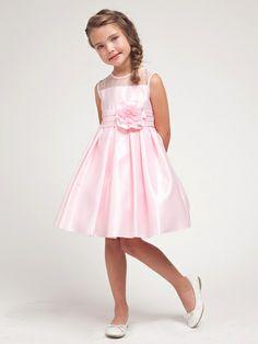 Pink Satin Dress w/Organza Trim Bodice