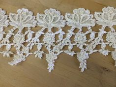 """Real French Venise Lace Trim with Beaded Pearls - White  From our vintage Venise collection   5"""" wide  $35.95 per yard"""