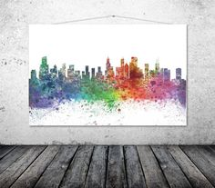 Chicago  Chicago City Skyline  Chicago Art by TheWildlands on Etsy
