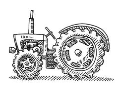 Old Tractor Agricultural Vehicle Drawing