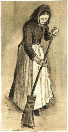 Woman with a Broom Vincent van Gogh Watercolor, Pencil, green wash, on watercolour paper The Hague: September - late in month, 1882