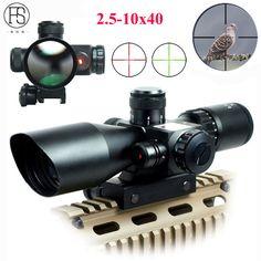 Hot!Tactical Riflescope 2.5-10x40 Optics Red Laser Holographic Sight Scope Illuminated Shooting Hunting Scope 11/20mm Rail Mount