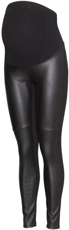 H&M - MAMA Leggings - Black/leather imitation - Ladies #maternityoutfits
