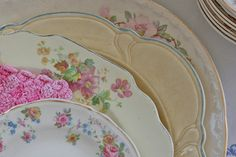 """previous pinner: """"Who knew there were so many other vintage china fans! Patrick thought I was OCD nutty when I started collecting mismatched plates for our wedding! Now I collect pins. Vintage Plates, Vintage Dishes, Vintage China, Vintage Tea, Vintage Love, Vintage Dishware, Vintage Stuff, Mismatched China, Shabby Chic"""