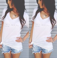 Totally me<3sheer white t shirt + ripped shorts+ loose waves=Comfy everyday outfit<3