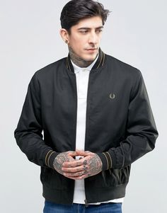 Image 1 ofFred Perry Bomber Jacket With Tiping In Dark Racing Green