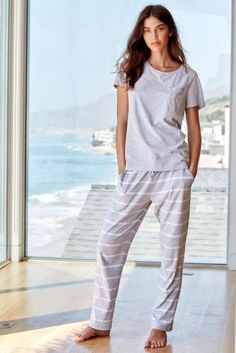 Be bang on trend this weekend in our Grey Stripe Jersey Pyjamas! Trendy AND cosy, what more could you want?!?!