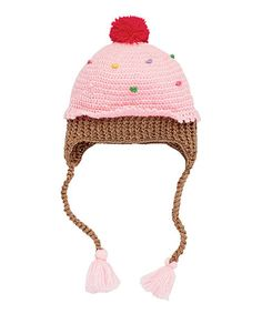 Another great find on #zulily! Pink & Brown Cupcake Earflap Beanie…