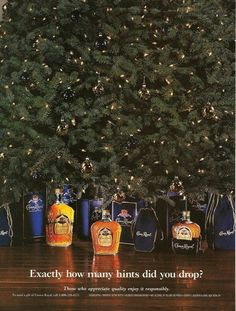 1994 Crown Royal Whiskey Under Christmas Tree how many hints VINTAGE PRINT AD #CrownRoyal