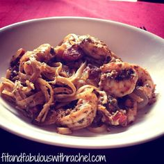 Shrimp Pesto w/ Whole Grain Spaghetti