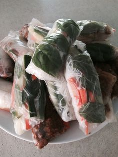Thai chicken rice paper rolls, with rice noodles, basil