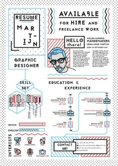 Graphic design resume - 52 infographic resume ideas for examples – Graphic design resume Graphic Design Resume, Resume Design Template, Cv Template, Hipster Graphic Design, Resume Templates, Conception Cv, Text Poster, Resume Examples, Resume Ideas