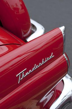 #red 1956 Ford Thunderbird Taillight Emblem by Jill Reger
