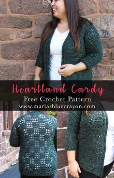 Heartland Cardy | Crochet Cardigan Sweater | Free Crochet Pattern on Maria's Blue Crayon | Made with Lion Brand Heartland Yarn