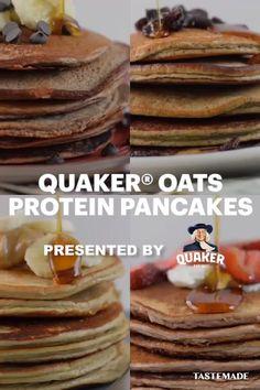 Protein Pancakes With Oats, Pancakes With Banana, Oat Flour Pancakes, Dairy Free Pancakes, Greek Yogurt Pancakes, Oatmeal Pancakes, Breakfast Pancakes, Breakfast Dishes, Health Pancakes