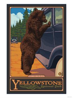 Don't Feed the Bears, Yellowstone National Park, Wyoming Premium Poster    I NEED this poster for National Park VBS. Somebody twitch your nose and make it happen :)