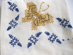 Vintage Linen Cross Stitch Butterfly Table by Sisters2Vintage, $16.00