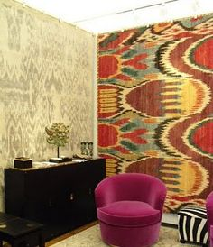 Great idea for apartment livivg!  Luke Irwin's 'Ikat 4' rug used as wall hanging. via Stylebeat