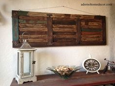 Rustic Wood Wall Panel Distressed Shutter Antique Vintage Shabby Accent Decor #Unbranded #RusticPrimitive