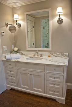 Empty Nester traditional bathroom  Wall Color:  Benajmin Moore Revere Pewter HC 172