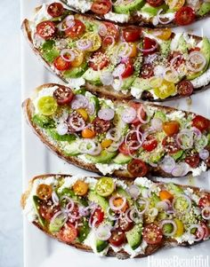 Avocado, Ricotta, Tomato, Onion Sandwich.