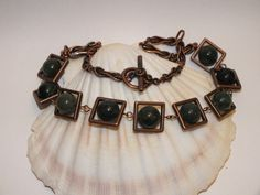 Antiqued Copper Necklace With Moss Agate Beads And Square Copper Frames And Rope Chain
