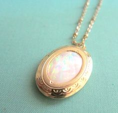 Opal Locket Necklace White Rainbow Moonstone Gold Locket Statement Vintage Inspired Glamorous Antique Style Locket Bridesmaids Gift Wedding