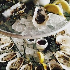 Our oyster tower, all varieties are only $1 from 5-7 daily