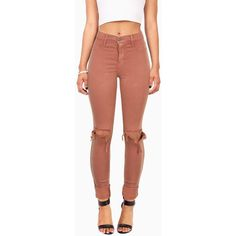 Strike Out Knee Torn Jeggings ($45) ❤ liked on Polyvore featuring pants, high-waist trousers, zipper pocket pants, high-waisted skinny jeans, high-waisted jeggings and brown stretch pants