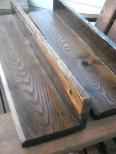 Rustic Handmade set of 2 Floating Shelves 25''3/4 each walnut & early american...for sale on ebay.. :)