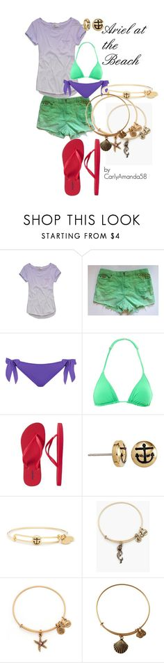 """Ariel at the Beach Disney Bound"" by carlyamanda58 ❤ liked on Polyvore featuring Abercrombie & Fitch, Violet Lake, Orlebar Brown, Old Navy and Alex and Ani"