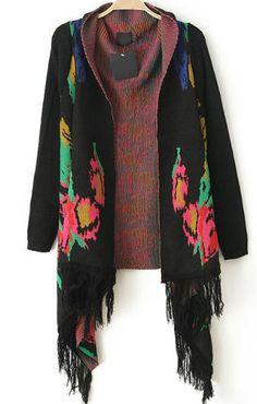 Black Long Sleeve Floral Tassel Cardigan 35.67