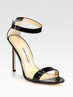 Great style for summer.  Manolo Blahnik - Chaos patent leather ankle strap sandals.