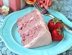 Healthy Strawberry Cake with Strawberries and Cream Frosting -- gluten-free.  I may need to try this out for Elise.
