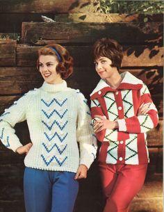 Zig Zag Zoom! • 1960s Ski Skiing Pullover Cardigan Sweater Patterns • 60s Vintage Color Fair Isle Knitting Jumper Pattern • Retro Knit PDF
