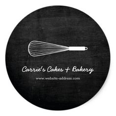 Rustic Whisk Logo Bakery Catering Stickers #wedding #craft #supplies