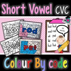 Short Vowel sounds - Colour By code. (American and Australian spelling of the word colour/color) A set of 10 Colour by code colouring pages to revise the short Vowels (a, e, i, o, u). Children need to read the CVC (Consonant vowel consonant) words and colour