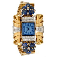 Tiffany & Co Yellow Gold, Dia and Sapphire Retro Watch