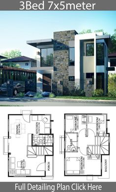 Small house design - Small Home design plan with 3 Bedrooms – Small house design Duplex House Plans, House Layout Plans, Bedroom House Plans, Modern House Plans, House Layouts, 2 Storey House Design, Bungalow House Design, House Front Design, Small House Design