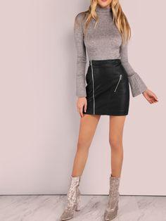 Falda línea A de cuero sintético con cremallera - negro