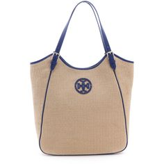 Tory Burch Slouchy Tote (€215) ❤ liked on Polyvore featuring bags, handbags, tote bags, studded tote bag, straw purses, tory burch handbags, beige tote bag and tory burch purse
