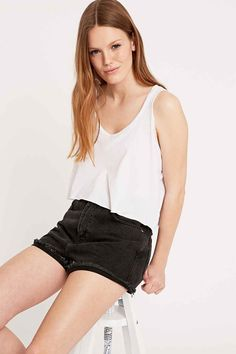 BDG Mom Denim Shorts in Black
