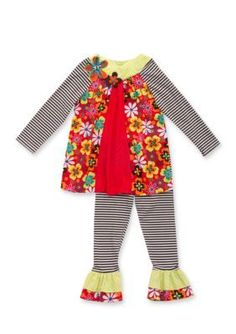Rare Editions  2-Piece Floral Stripe Tunic and Pant Set Girls 4-6x