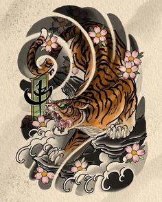 12oct2011 Oriental Inspired Tiger Half Sleeve Design Animal