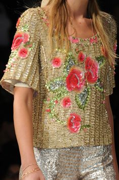 crepe top covered in tan sequins that has more sequins and beads layered on into a blooming roses applique. By BLUGIRL BLUMARINE  Spring 2013